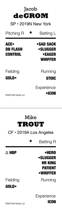 Jacon deGrom and David Trout cards for 2019 Pro Season, HMB
